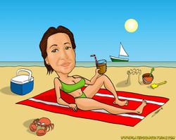 caricatura por encargo_Mujer en playa con refresco_platerocaricaturas