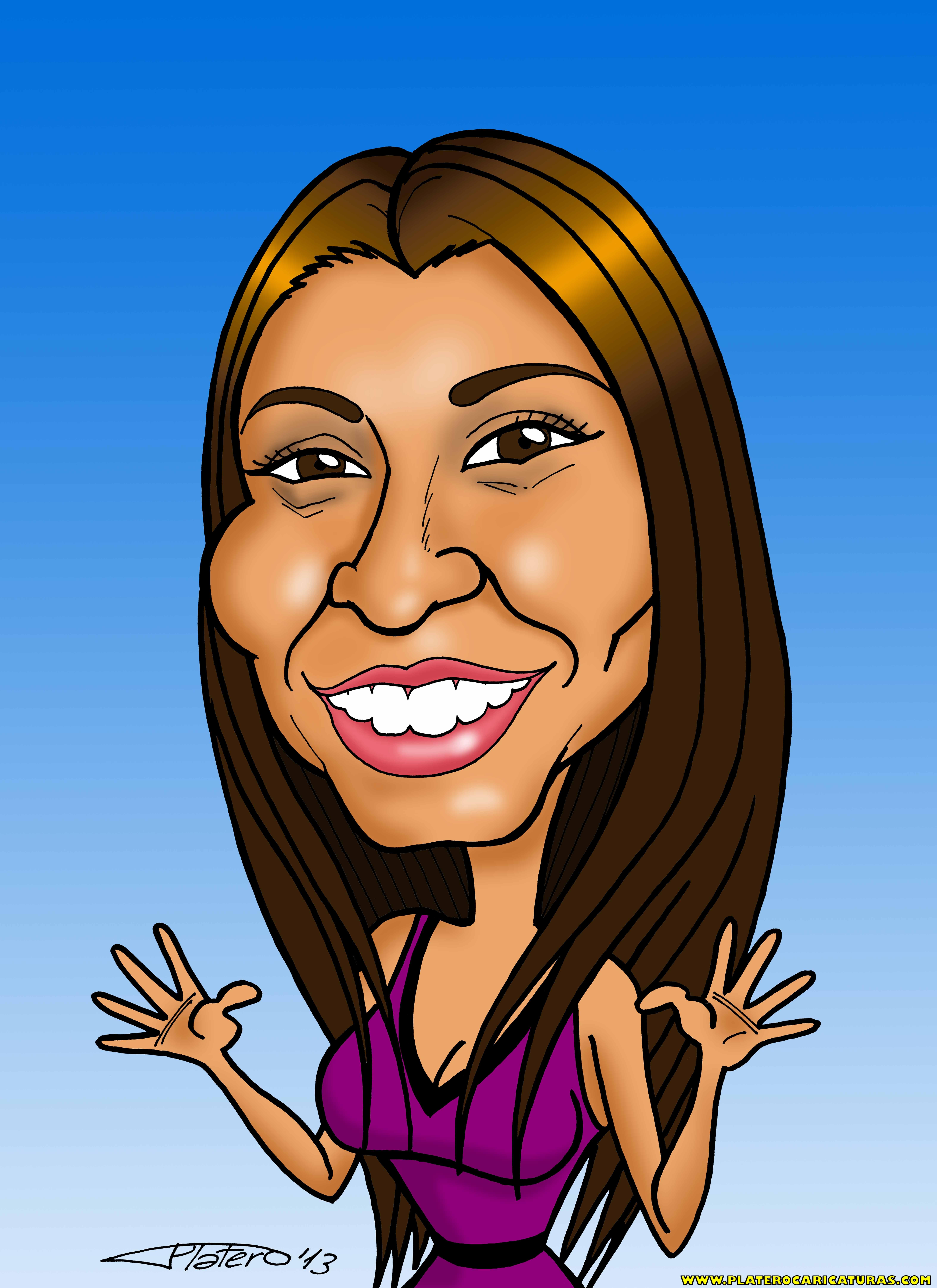 caricaturas a color por encargo personalizadas_chica sonriente_platerocaricatura