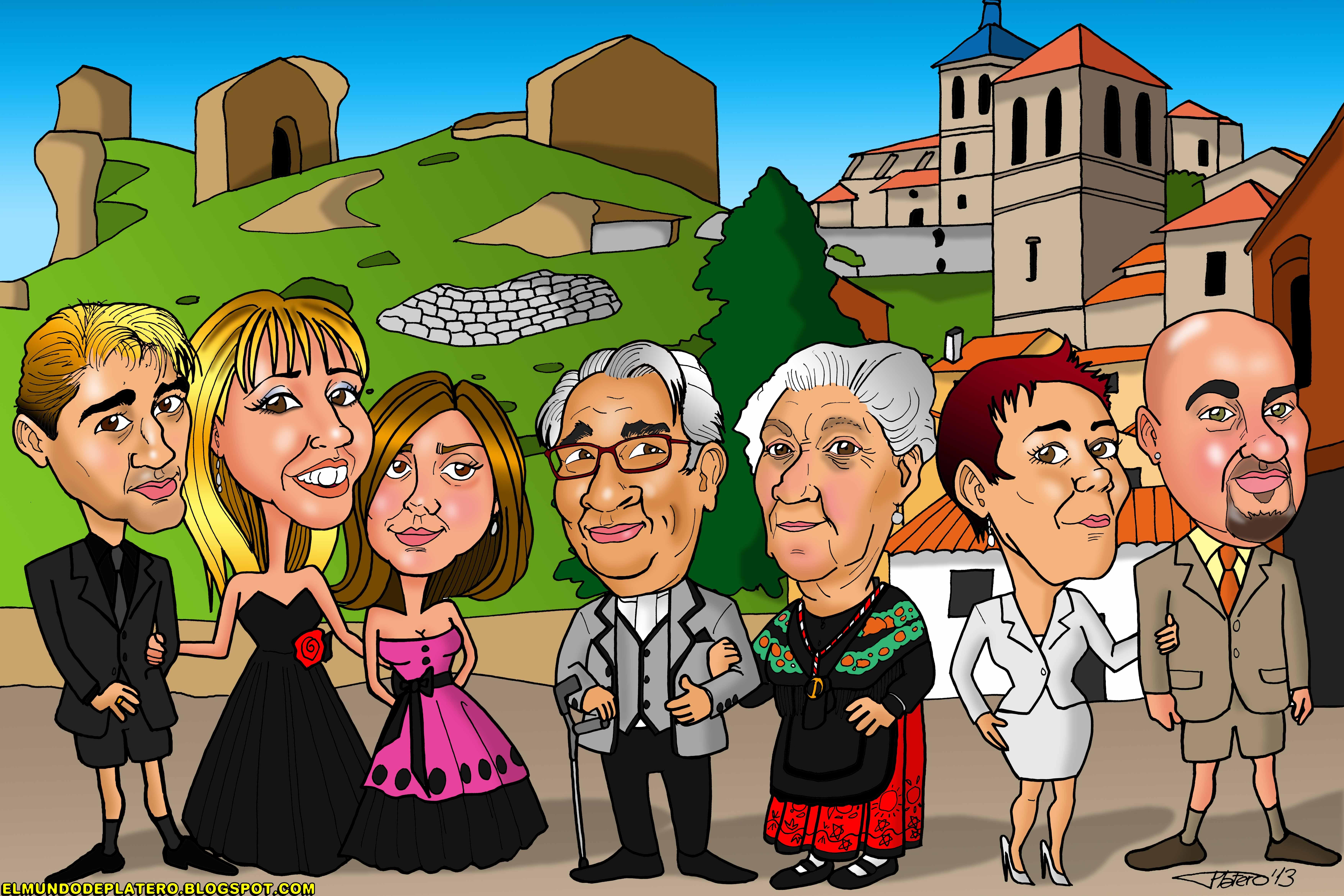 caricaturas a color por encargo personalizadas_familia_elmundodeplatero_josé lui