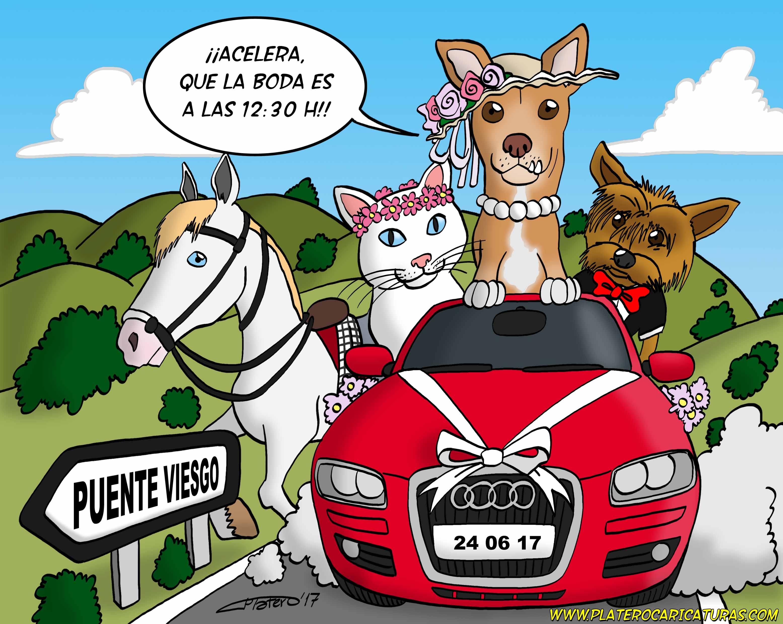 01_tarjeta boda animales en coche_parte delantera_platerocaricaturas