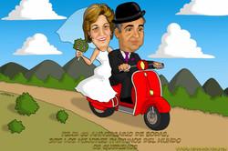 caricatura_a_color_por_encargo_personalizada_padrinos_en_moto_vespa_50_aniversar