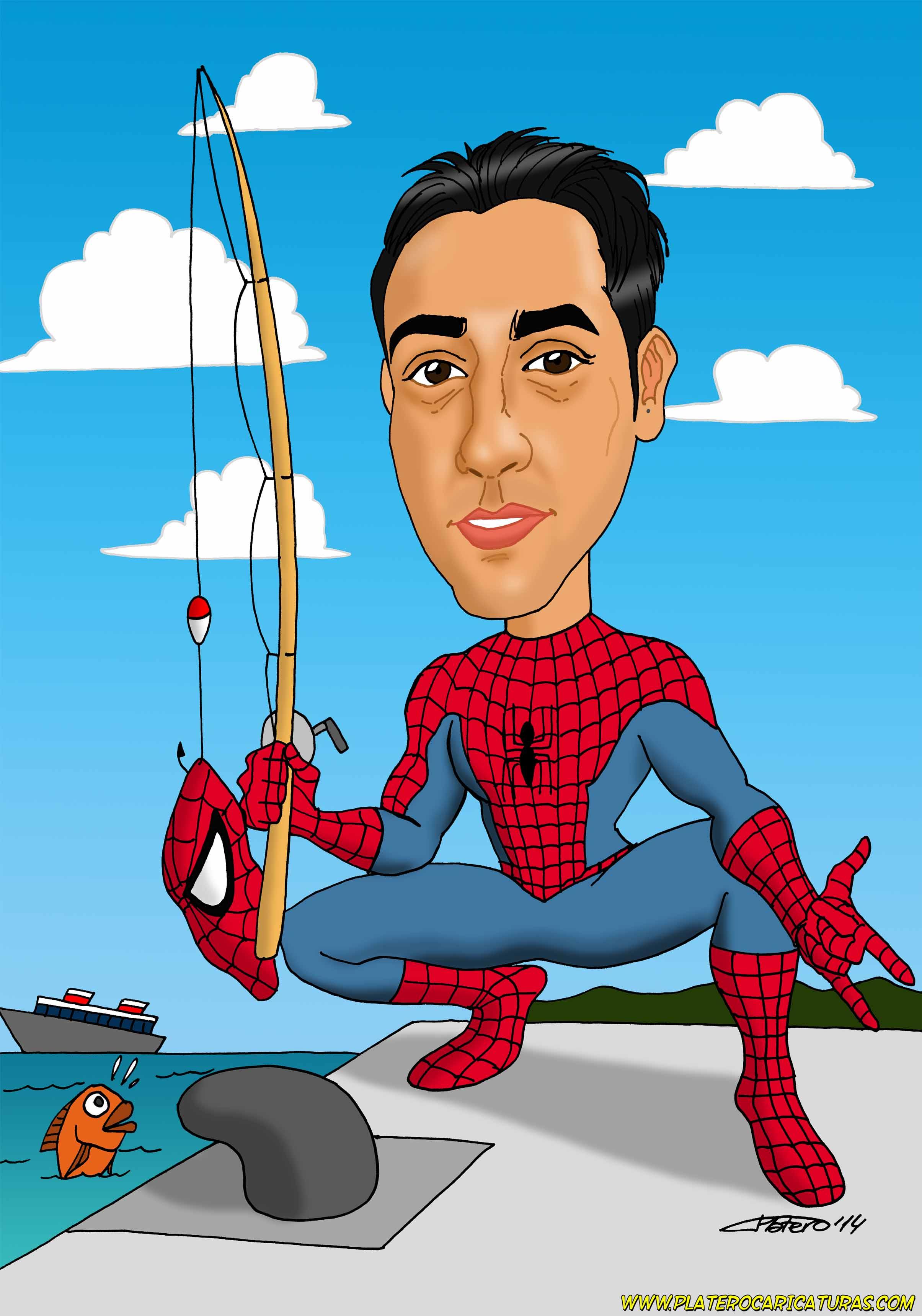 caricaturas_a_color_por_encargo_personalizadas_pescador_spiderman_platerocaricat