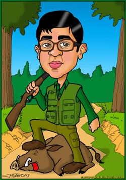 caricaturas a color por encargo personalizadas_cazador_elmundodeplatero_josé lui
