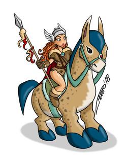 Valkiria sobre caballo exótico