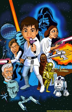 Caricaturas a color_cartel star wars episodio4 a new hope_una nueva esperanza_el