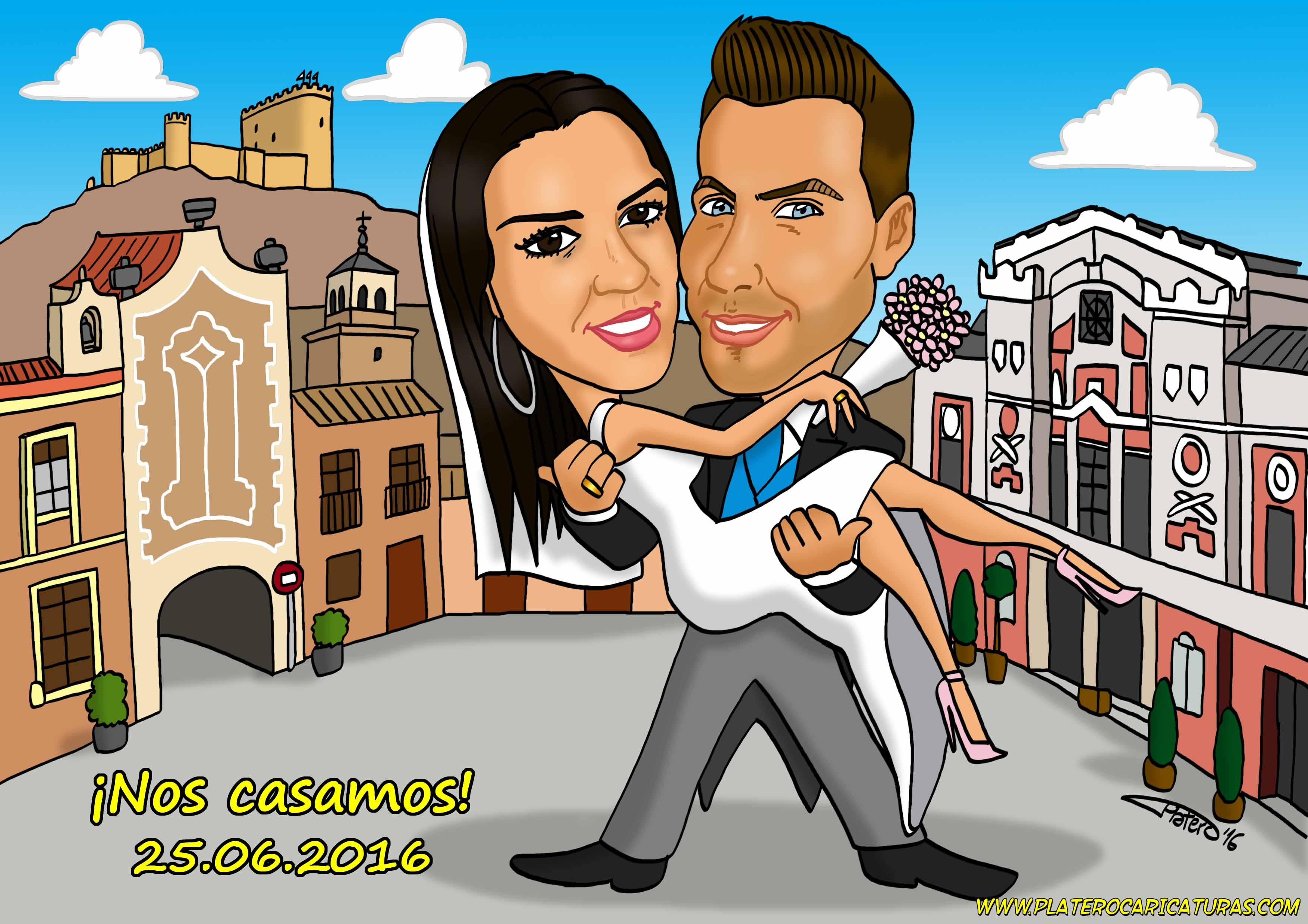 caricaturas_pareja novios con fondos_platerocaricaturas