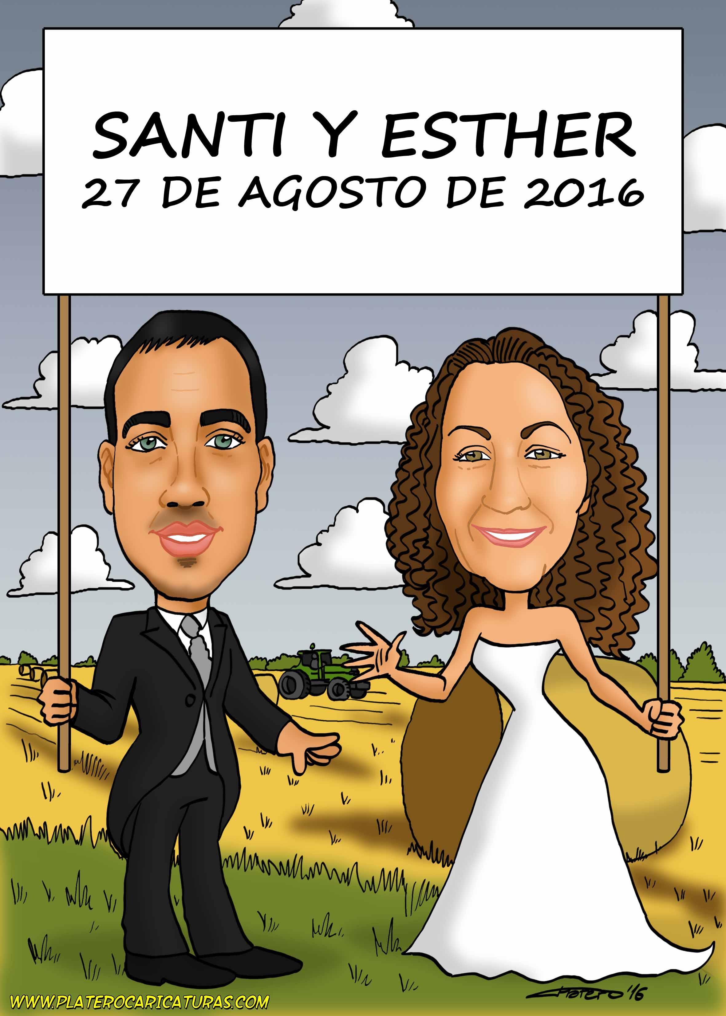 caricaturas_Pareja novios en campo_platerocaricaturas