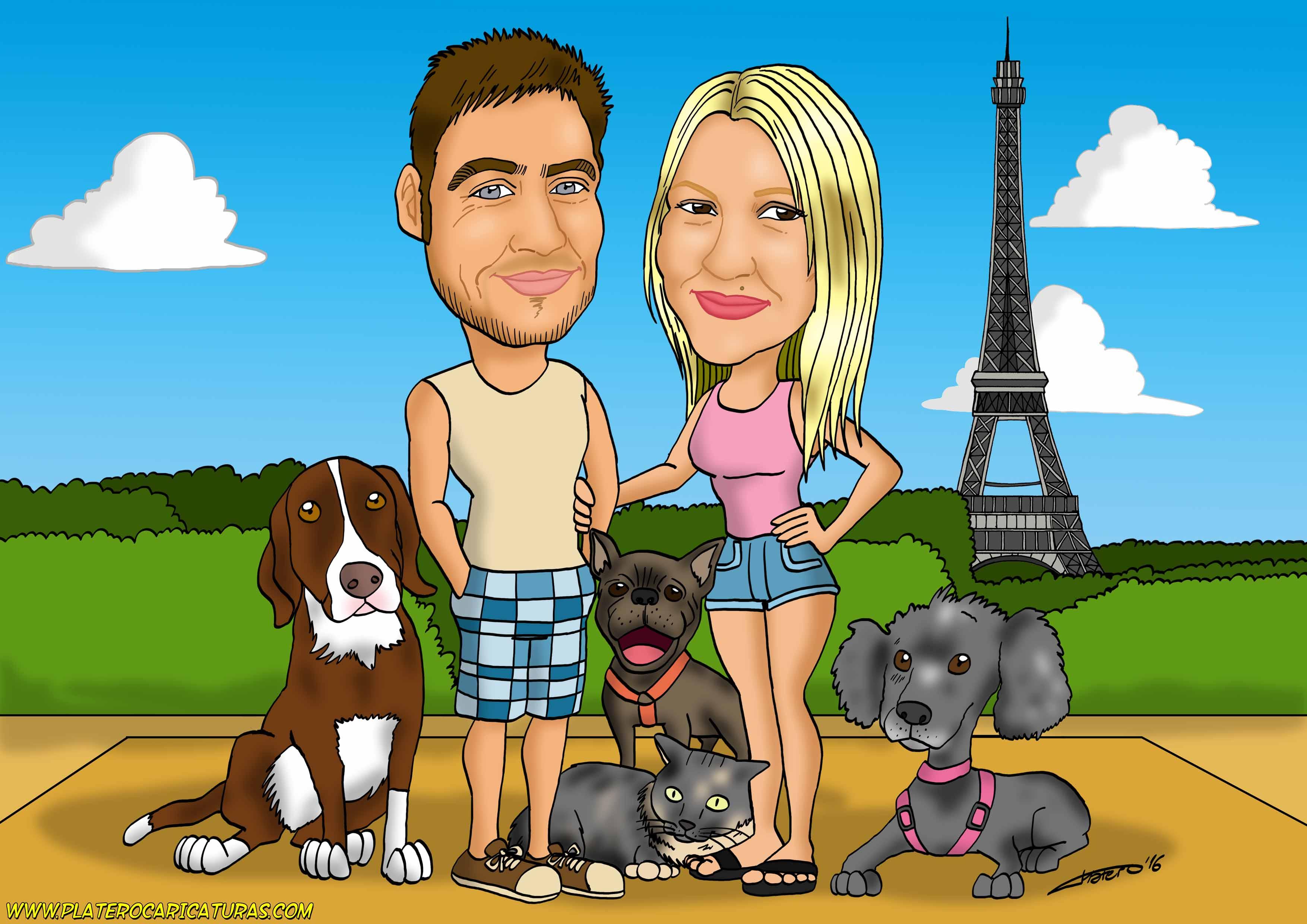 caricaturas_a_color_por_encargo_personalizadas_pareja_con_perros_y_gato_platerocaricaturas_elmundode