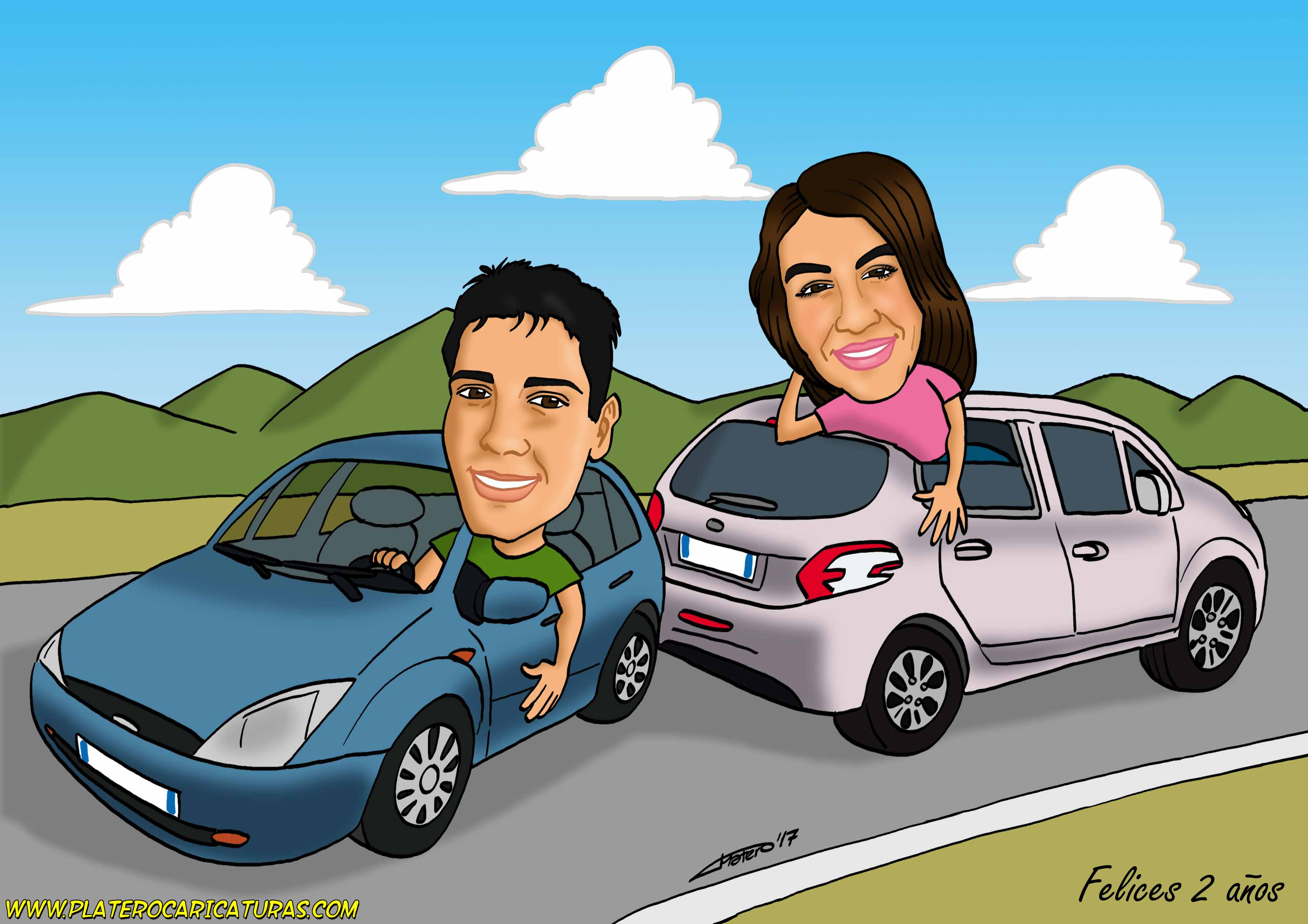 caricaturas_a_color_por_encargo_personalizadas_chico_chica_coches_pareja_aniversario_platerocaricatu