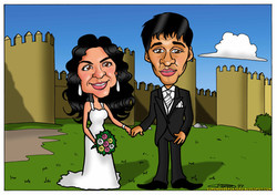 caricaturas a color personalizadas por encargo_novios Avila_elmundodeplatero_jos