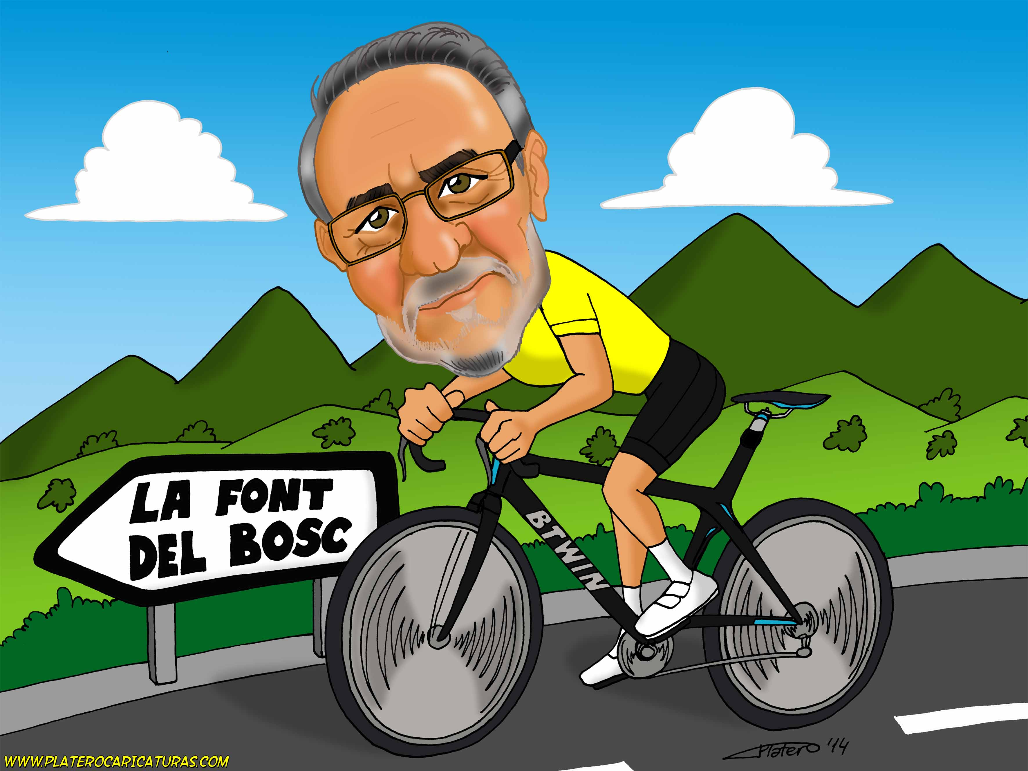 caricaturas a color por encargo personalizadas_ciclista bici carretera_plateroca