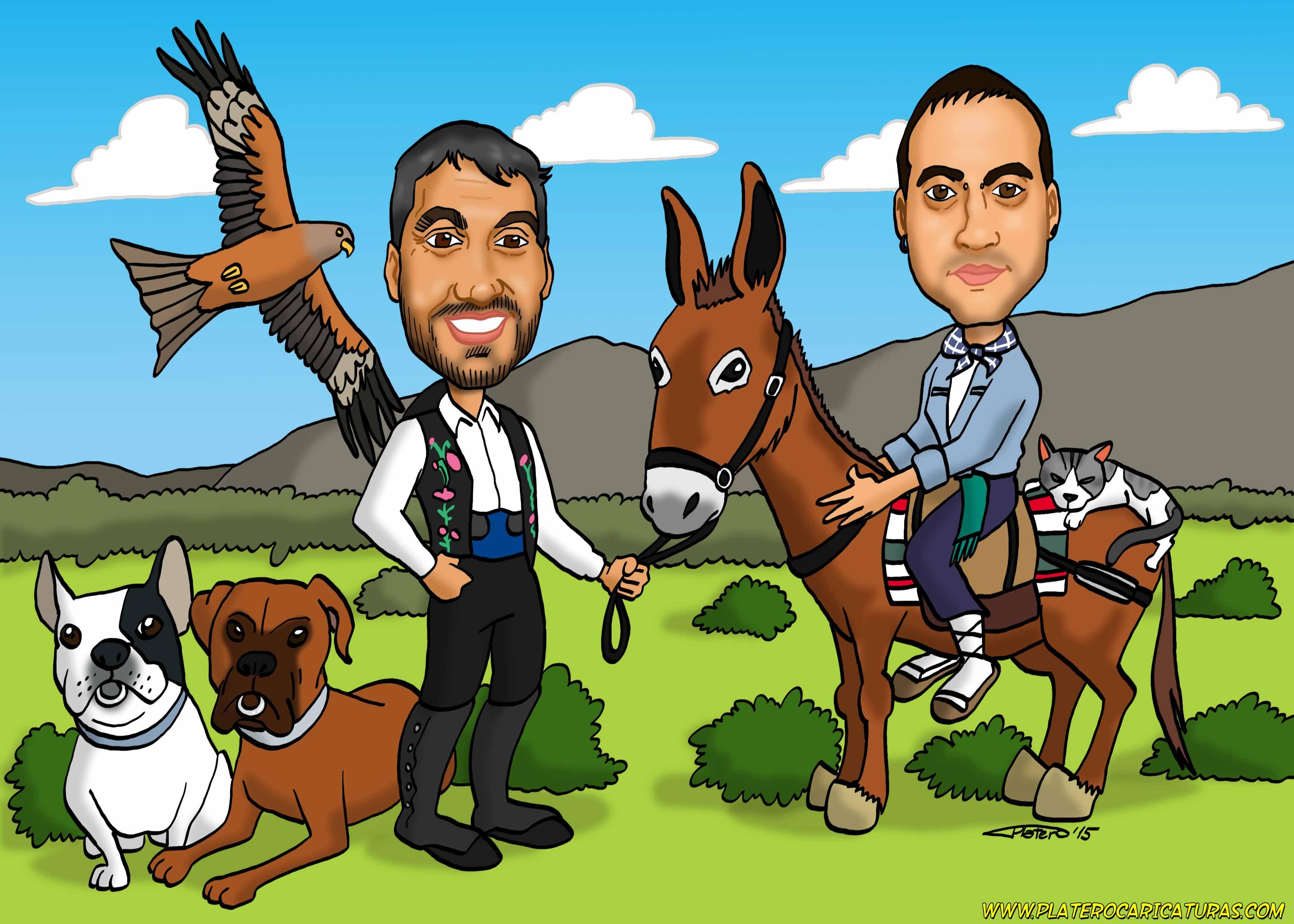 caricaturas_a_color_por_encargo_personalizadas_animales_burro_perros_gato_milano