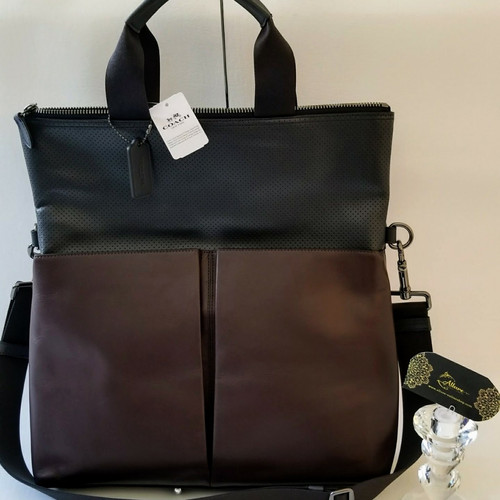 d2c57500ed53 Coach Leather Color Block Perforated Foldover business Tote Crossbody