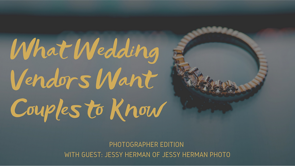 A wedding ring lays on a reflective surface with the words What Wedding Vendors Want Couples to Know written next to it.