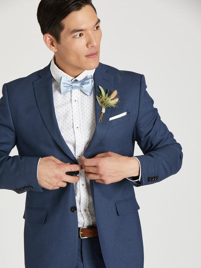 Slim Fit Navy Blue Wedding Suit
