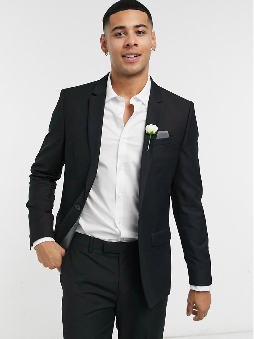 Slim Fit Black Wedding Suit
