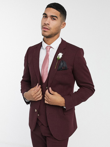 Burgundy Slim Fit Wedding Suit