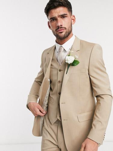 Slim Fit Tan Wedding Suit