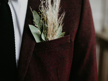 Fall Wedding Boutonnieres of Seasonal Blooms