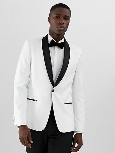 White Tuxedo Suit with Shawl Lapel