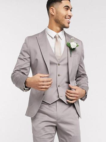 Slim Fit Light Gray Wedding Suit