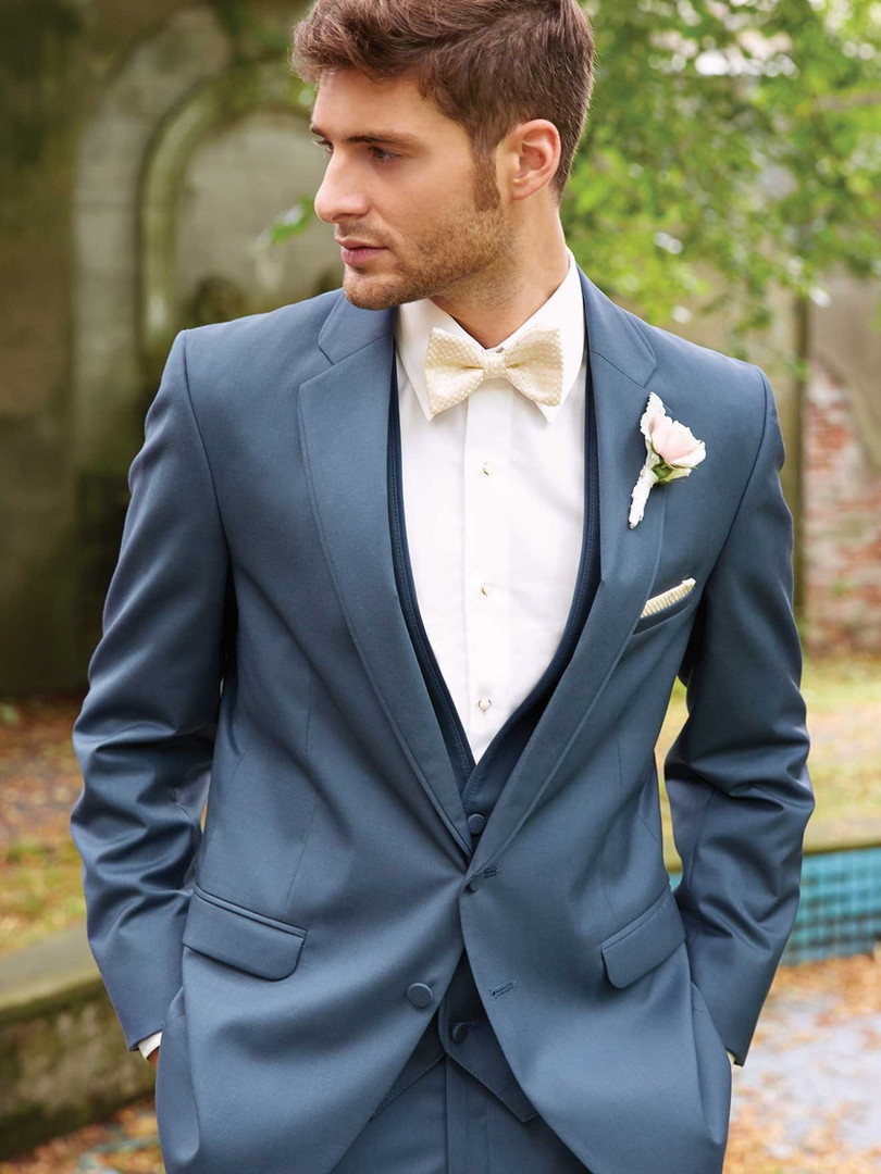 Slim Fit Blue Gray Wedding Suit