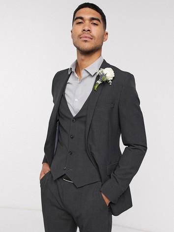 Slim Fit Charcoal Wedding Suit