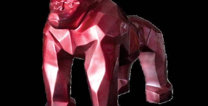 Animaux en résine Suisse - Gorille origami rouge