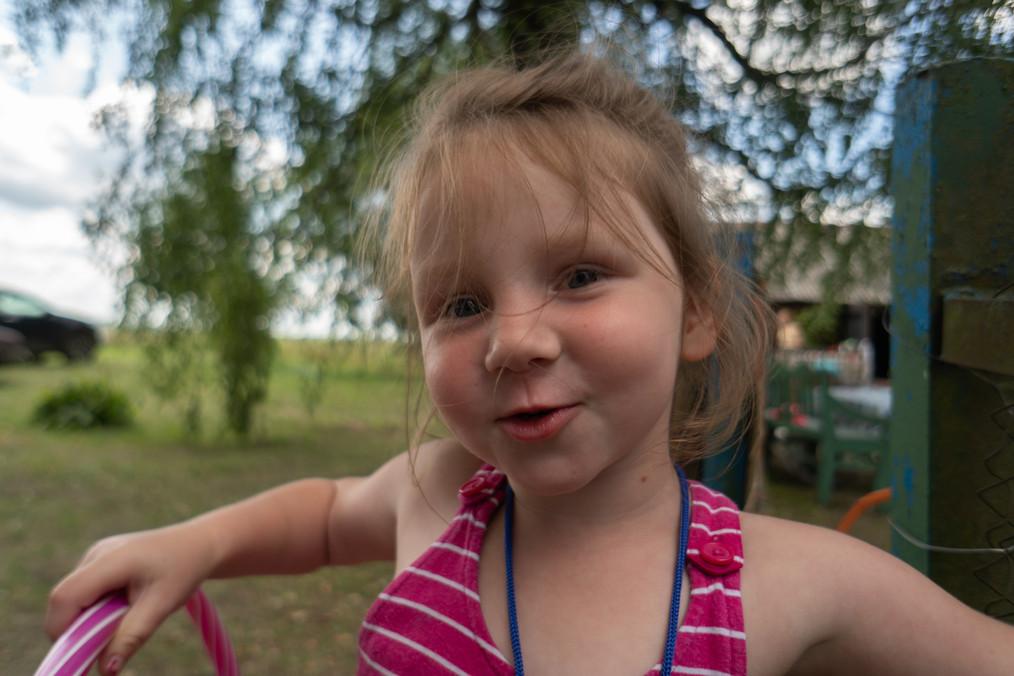 Gilr enjoys play time at evangelistic camp in Belarus