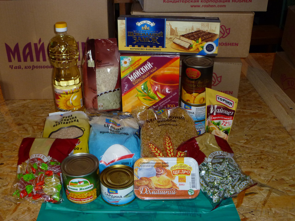 Items given in a food bag distribution campaign in Eastern Ukraine