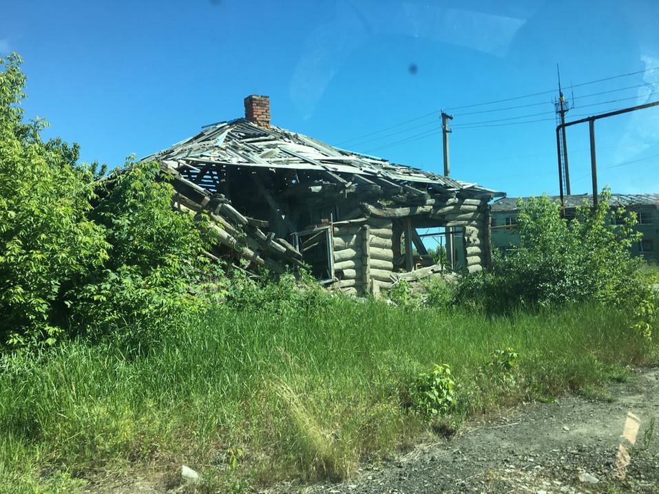 Home destroyed by artillery fire in Eastern Ukraine