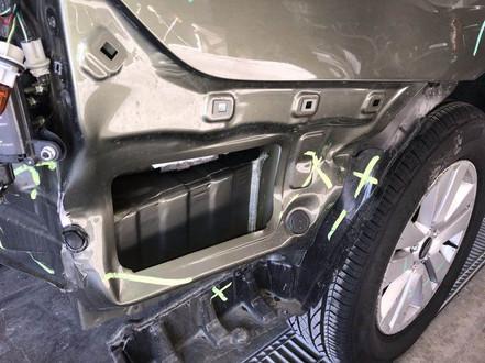 Right rear damage.