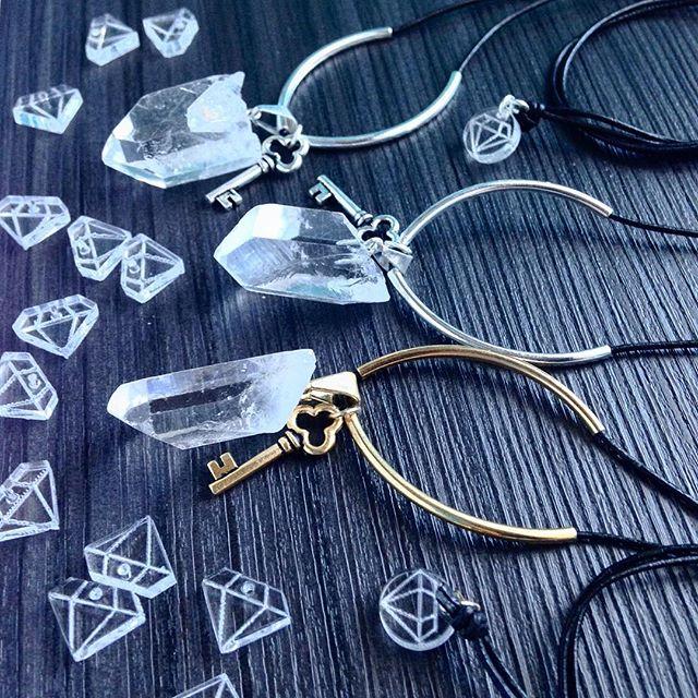 Quartz and Keys Necklaces