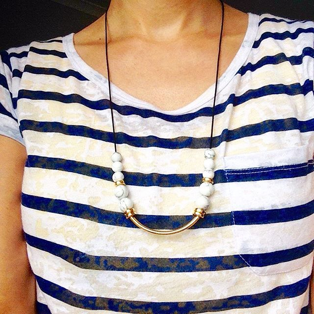 Howlite and Gold Necklace