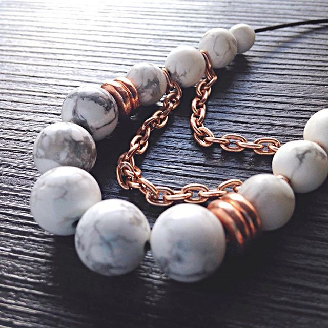 Howlite and Rose Gold Necklace