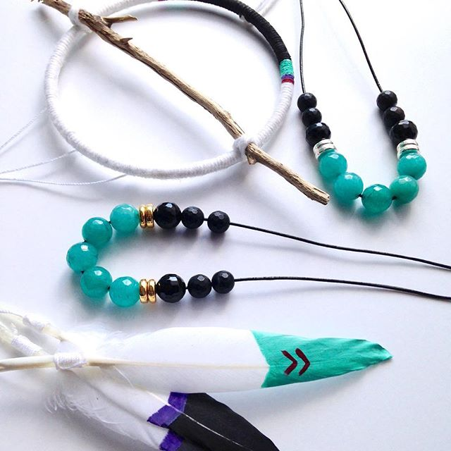 Turquoise Jade and Onyx Necklaces