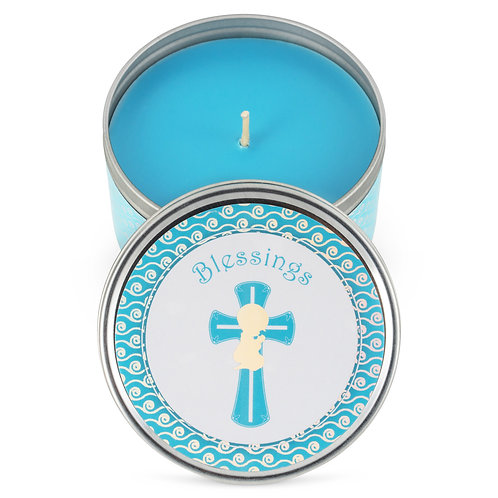 Baptism Party Favor Candles - (6-Pack) - Blue-2 Baby Shower