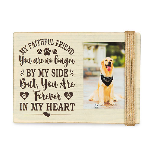 """Majestic Zen 5"""" x 7"""" Memorial Picture Frame- Holds 3"""" x 4"""" Small Beige-dog-1"""