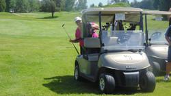 Jen golfing