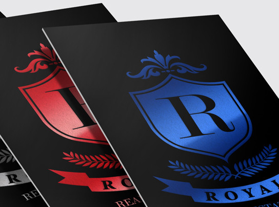 Blue and Red Foil Stamped Business Cards