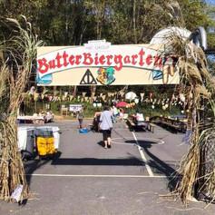 Biergarten-style entrance to refreshment area