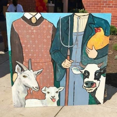 Photo op board inspired by American Gothic