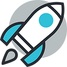 A rocket tacking off icon