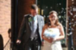 Wedding photography bride groom confetti