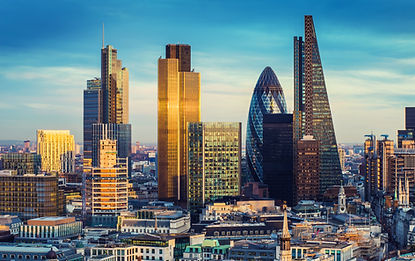 London, England - The bank district of c