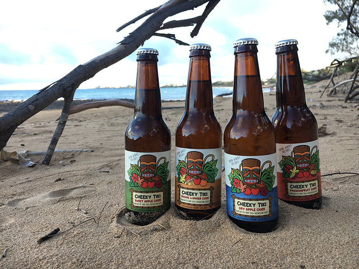 Bottles of cider on a beach with ocean in the background