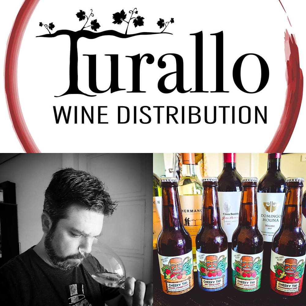 Logo for Turallo Wine Distribution, man sniffing wine glass in black and white, picture of four cider bottles
