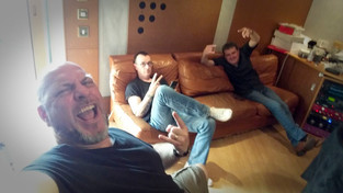 Relaxing in the green room of the studio