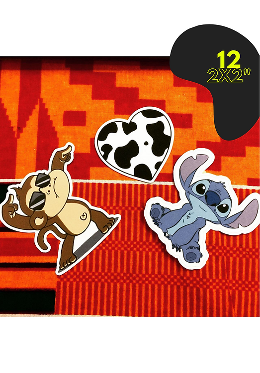 """12 Individual 2x2"""" Stickers"""