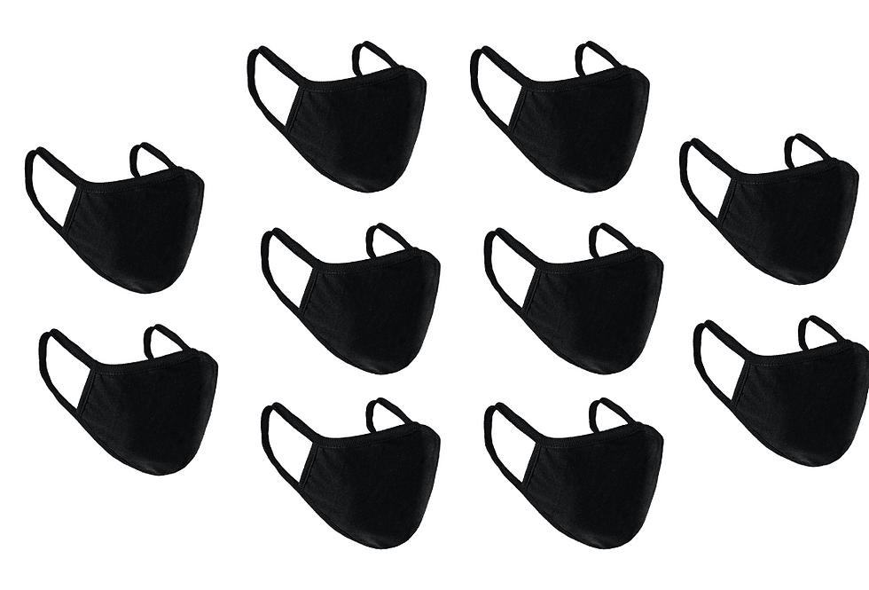 Pack of 10 Black Custom Face Mask